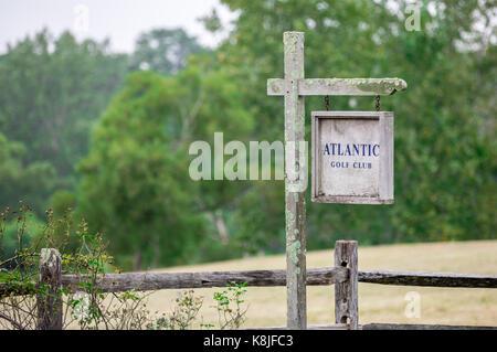 entrance to the private atlantic golf club in bridgehampton, ny - Stock Photo