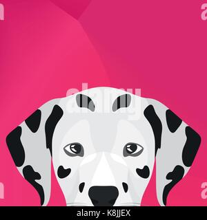 Illustration Dog Dalmatian looking over wall for the creative use in graphic design - Stock Photo