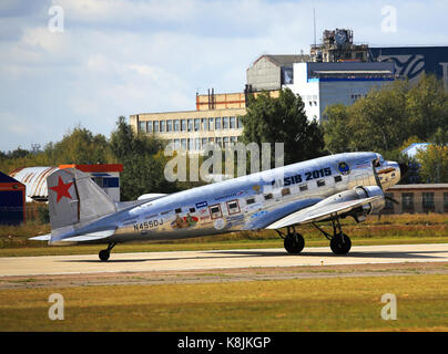 MOSCOW REGION – AUGUST 25: Military transport aircraft 'Douglas C-47' during the Second World War  at the air show - Stock Photo