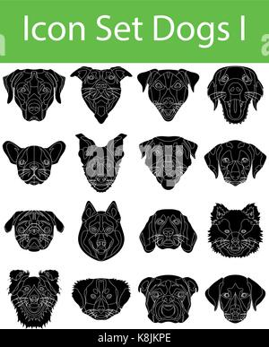 Icon Set Dogs I with 16 icons for the creative use in graphic design - Stock Photo