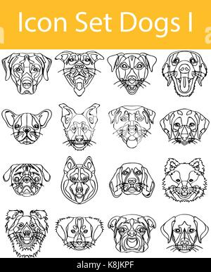 Drawn Doodle Lined Icon Set Dogs I with 16 icons for the creative use in graphic design - Stock Photo
