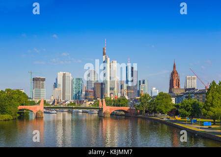Frankfurt city skyline at business district, Frankfurt, Germany - Stock Photo