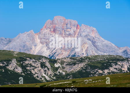 Croda Rossa, 3146 m a.s.l., at nortwestern end of Cortina valley - Stock Photo