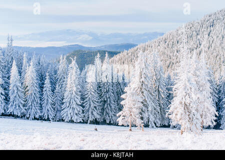 Fantastic winter landscape. Magic sunset in the mountains a frosty day. On the eve of the holiday. The dramatic - Stock Photo