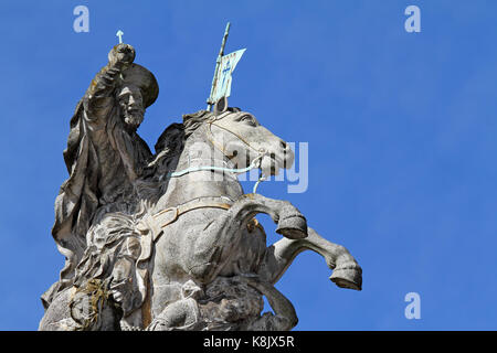 Equestrial statue of Santiago (Saint James) in Santiago de Compostela, Galicia, Spain - Stock Photo