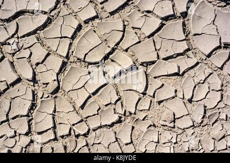 Cracked dry land in a desert - Stock Photo