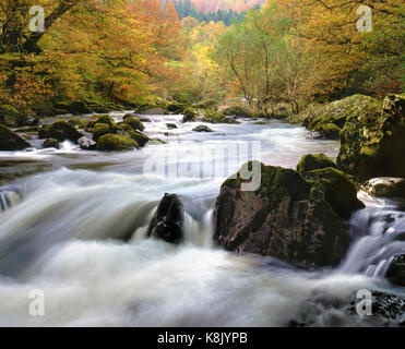 A colourful autumn view of Afon Llugwy, Betws y Coed, in Snowdonia, Wales, UK - Stock Photo