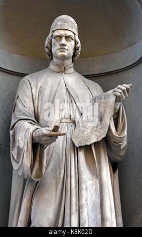 Leon Battista Alberti  1404 –1472 humanist author, artist, architect, poet, priest, linguist, philosopher, and cryptographer; - Stock Photo