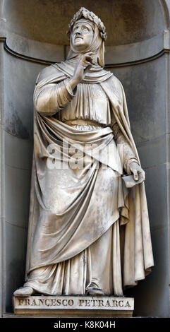 Francesco Petrarca - Statue of at the Uffizi Gallery in Florence, Tuscany Italy. Francesco 1304 –1374  Petrarch - Stock Photo