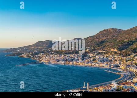 Samos Island Greece, Viiew on City of Samos - Stock Photo