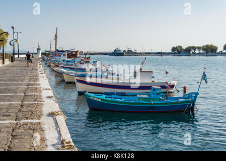Samos island, Greece - September 18, 2016: Fishing boats at Pythagorion/Pythagoreio - Stock Photo