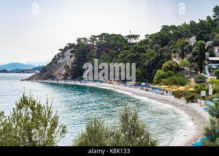 Samos island, Greece - September 18, 2016: Tsamadu Beach, Samos, Greece - Stock Photo