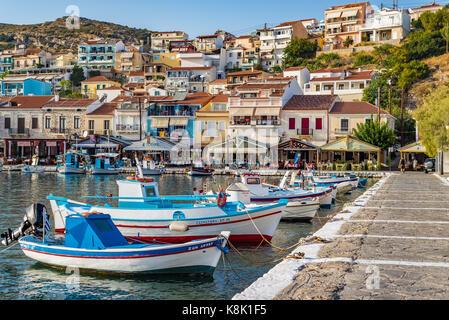 Samos island, Greece - September 18, 2016: Fishing boats at Pythagorion/Pythagoreio - Stock Photo