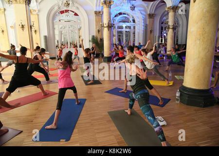 Chamonix yoga festival. france. - Stock Photo