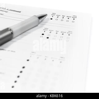 Isolated survey form with negative feedback. - Stock Photo