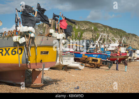 Hastings fishing boats on the Stade Fishermen's Beach at Rock-a-Nore, Hastings, East Sussex, England, United Kingdom, - Stock Photo