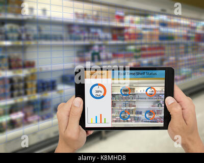 internet of things,smart retail concepts,A store's manager can check what data of real time insights into shelf - Stock Photo