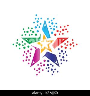 colorful star logo, star logo, icon design, isolated on white background. - Stock Photo
