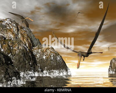 Anhanguera prehistoric birds fishing on the shoreline - 3D render - Stock Photo