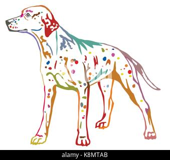 Colorful contour decorative portrait of standing in profile dog Dalmatian, vector isolated illustration on white - Stock Photo