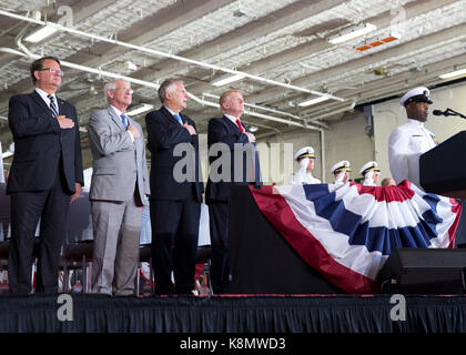 President Donald J. Trump at USS Gerald R. Ford's (CVN 78) commissioning ceremony at Naval Station Norfolk - Stock Photo