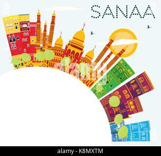 Sanaa (Yemen) Skyline with Color Buildings, Blue Sky and Copy Space. Vector Illustration. Business Travel and Tourism - Stock Photo