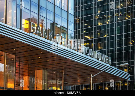 New York, USA - 28 September, 2016: The Bank of America Tower at One Bryant Park is a 1,200 ft skyscraper in the - Stock Photo