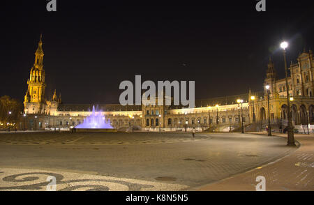 plaza de españa, Seville, Spain at night - Stock Photo