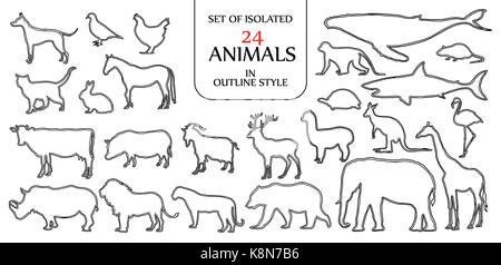 Set of isolated 24 animals illustration in double black outline style for logo, icon or background design with blank - Stock Photo