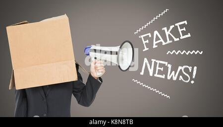 Digital composite of Fake news text and cardboard head using megaphone - Stock Photo