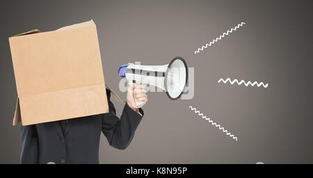 Digital composite of cardboard head using megaphone with illustrations - Stock Photo
