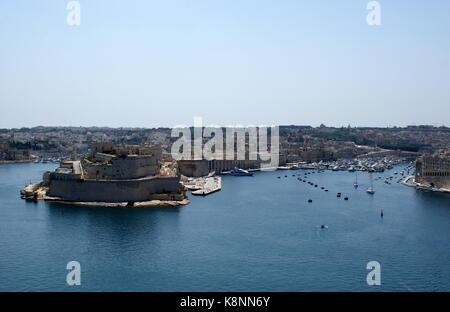 View across Grand Harbour, Valletta, to Kalkara, Birgu and Fort St. Angelo, Malta - Stock Photo
