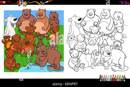 Cartoon Illustration of Bears Animal Characters Group Coloring Book Activity - Stock Photo