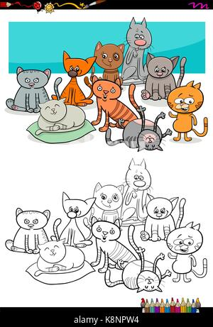 Cartoon Illustration Of Kittens Animal Characters Group Coloring Book Activity