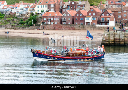Boat trips around Whitby harbour in RNLB Mary Ann Hepworth, the old Whitby lifeboat. - Stock Photo