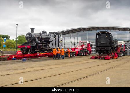 Shildon Co. Durham 20 September 2017:  Ex British Railways 2-6-0 steam locomotive 78018 was loaded on to road transport - Stock Photo