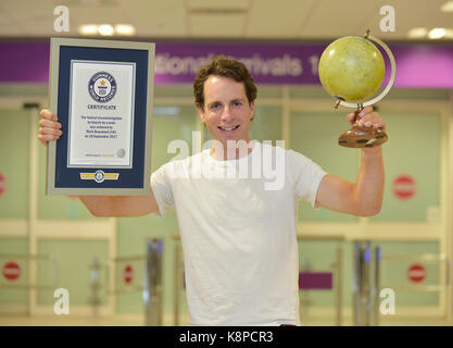 Adventurer Mark Beaumont who set a new world record for cycling around the world in 80 Days. - Stock Photo