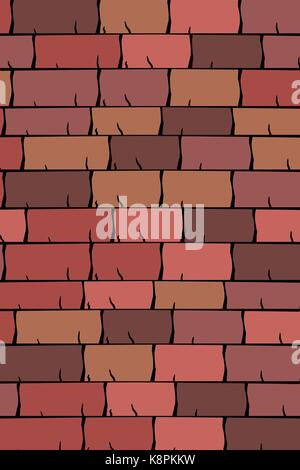 Vector texture illustration of Seamless red clay roof tiles, slate. - Stock Photo
