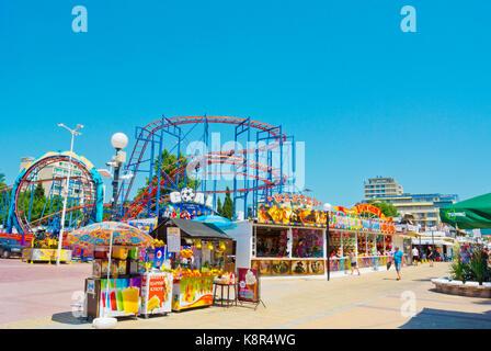 Amusement park, Flower Street, Sunny Beach, Bulgaria - Stock Photo
