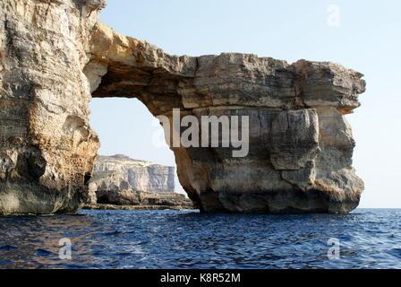 The Azure window, Dwejra bay, San Lawrenz, Gozo, Malta - Stock Photo