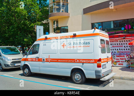Ambulance, in front of St Nicholas medical centre, Sunny Beach, Bulgaria - Stock Photo