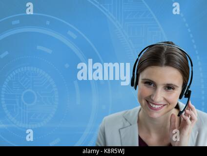 Digital composite of Customer care service woman with blue background - Stock Photo