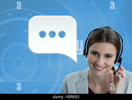 Digital composite of Customer care service woman with chat bubble - Stock Photo