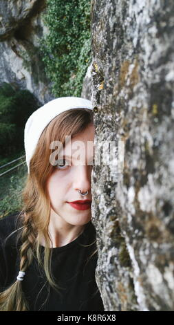 Young woman enjoying the day at nature - Stock Photo