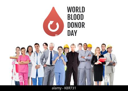 Digital composite of Group of people with world blood donor day and blood donation graphic - Stock Photo