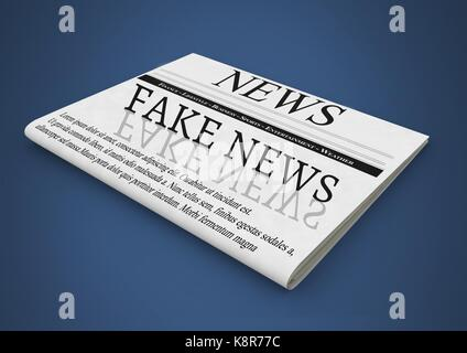 Digital composite of Fake news text on newspaper - Stock Photo