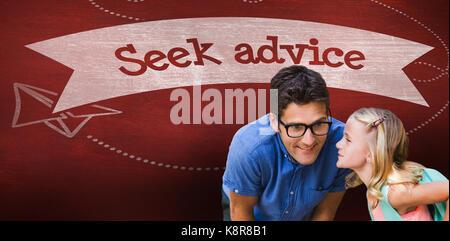 Girl whispering in male teacher ear against seek advice against desk - Stock Photo