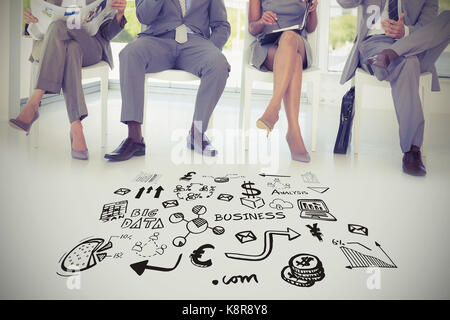 Composite image of various business icons against business people sitting on chairs - Stock Photo