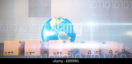 Globe and cardboard boxes against white background against blue technology design with binary code - Stock Photo
