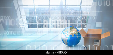 Planet earth and brown box against blue technology design with binary code - Stock Photo